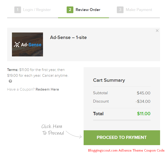 AdSense Theme Discount Coupon Code