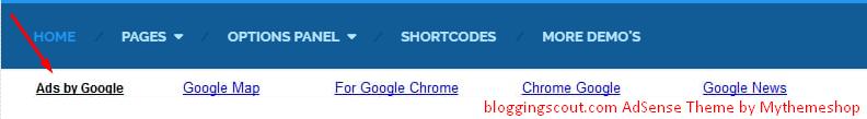 AdSense Mythemeshop theme Google Ads placement screenshot