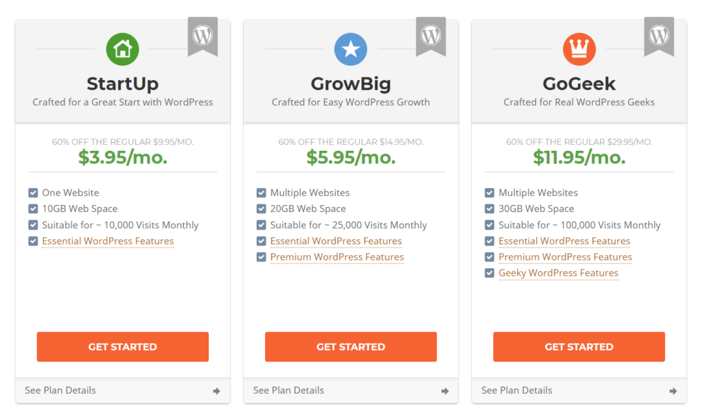 SiteGround WP Hosting Pricing Table