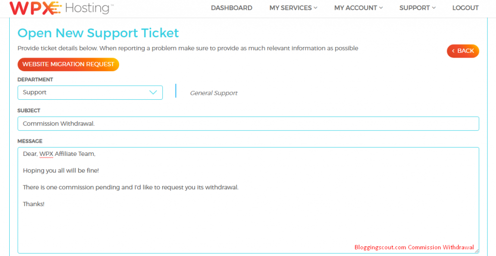 Create ticket about Commission Withdrawal